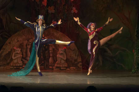 15 18: DNEPROPETROVSK, UKRAINE - FEBRUARY 18: Polina Yangel and Nazar Rodionov, ages 15 years old, perform musical spectacle Mowgli on February 18, 2013 in Dnepropetrovsk, Ukraine