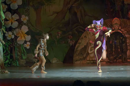 10 15 years: DNEPROPETROVSK, UKRAINE - FEBRUARY 18: Polina Yangel and Kirill Solovyev, ages 15 and 10 years old, perform musical spectacle Mowgli on February 18, 2013 in Dnepropetrovsk, Ukraine