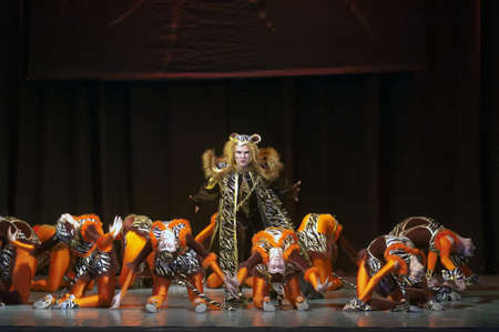 DNEPROPETROVSK, UKRAINE - FEBRUARY 18: Unidentified children, ages 14-15 years old, perform musical spectacle Mowgli on February 18, 2013 in Dnepropetrovsk, Ukraine Editorial