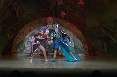 18 years old: DNEPROPETROVSK, UKRAINE - FEBRUARY 18: Polina Yangel and Nazar Rodionov, ages 15 years old, perform musical spectacle Mowgli on February 18, 2013 in Dnepropetrovsk, Ukraine