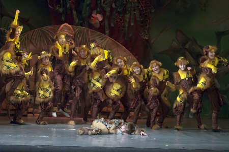 18 years old: DNEPROPETROVSK, UKRAINE - FEBRUARY 18: Unidentified children, ages 7-15 years old, perform musical spectacle Mowgli on February 18, 2013 in Dnepropetrovsk, Ukraine