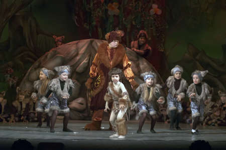 parable: DNEPROPETROVSK, UKRAINE - FEBRUARY 18: Unidentified children, ages 5-15 years old, perform musical spectacle Mowgli on February 18, 2013 in Dnepropetrovsk, Ukraine