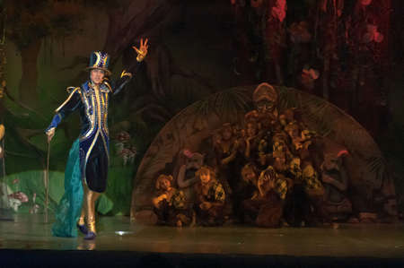 15 18: DNEPROPETROVSK, UKRAINE - FEBRUARY 18: Nazar Rodionov, age 15 years old, performs musical spectacle Mowgli on February 18, 2013 in Dnepropetrovsk, Ukraine