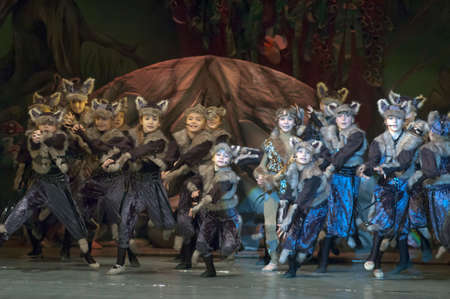 parable: DNEPROPETROVSK, UKRAINE - FEBRUARY 18: Unidentified children, ages 7-15 years old, perform musical spectacle Mowgli on February 18, 2013 in Dnepropetrovsk, Ukraine