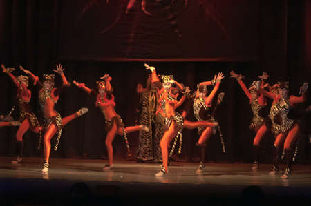 parable: DNEPROPETROVSK, UKRAINE - FEBRUARY 18: Unidentified children, ages 14-15 years old, perform musical spectacle Mowgli on February 18, 2013 in Dnepropetrovsk, Ukraine Editorial