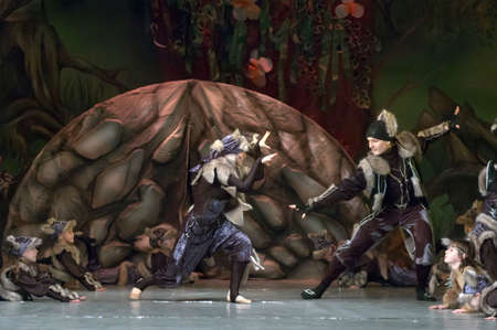 DNEPROPETROVSK, UKRAINE - FEBRUARY 18: Unidentified children, ages 7-15 years old, perform musical spectacle Mowgli on February 18, 2013 in Dnepropetrovsk, Ukraine