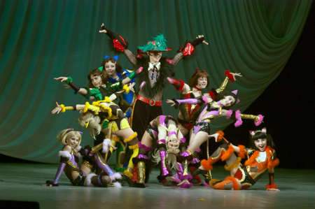 27 years old: DNIPROPETROVSK, UKRAINE - MAY 27: Unidentified children, ages 11-14 years old, perform CATS on May 27, 2007 in Dnipropetrovsk, Ukraine
