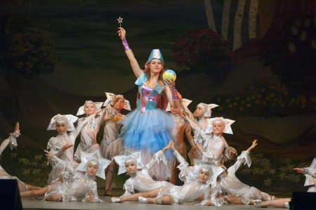 parable: DNIPROPETROVSK, UKRAINE - JUNE 1: Unidentified children, ages 8-14 years old, perform THE SNOW QUEEN on June 1, 2007 in Dnipropetrovsk, Ukraine