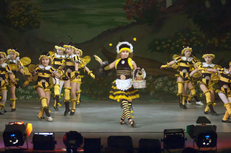 parable: DNIPROPETROVSK, UKRAINE - NOVEMBER 26: Unidentified children, ages 8-14 years old, perform THUMBELINA on November 26, 2006 in Dnipropetrovsk, Ukraine
