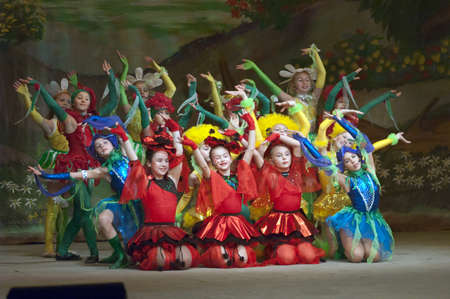 parable: DNIPROPETROVSK, UKRAINE - DECEMBER 19: Unidentified children, ages 8-14 years old, perform THUMBELINA on December 19, 2005 in Dnipropetrovsk, Ukraine Editorial