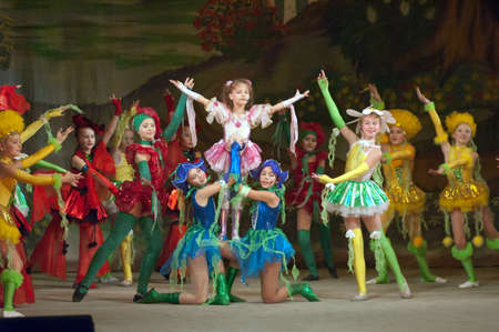 19 years: DNIPROPETROVSK, UKRAINE - DECEMBER 19: Unidentified children, ages 8-14 years old, perform THUMBELINA on December 19, 2005 in Dnipropetrovsk, Ukraine Editorial