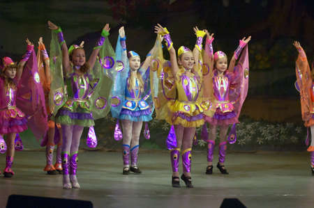 parable: DNIPROPETROVSK, UKRAINE - OCTOBER 29: Unidentified children, ages 8-14 years old, perform THUMBELINA on October 29, 2006 in Dnipropetrovsk, Ukraine
