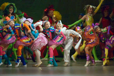 27 years old: DNIPROPETROVSK, UKRAINE - MAY 27: Unidentified children, ages 8-14 years old, perform THUMBELINA on May 27, 2007 in Dnipropetrovsk, Ukraine