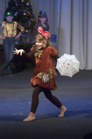 27 years old: DNEPROPETROVSK, UKRAINE - DECEMBER 27: Lera Sharapenko, age 8 years old, performs Djudjuka on December 27, 2012 in Dnepropetrovsk, Ukraine Editorial