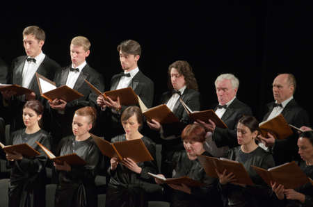 DNIPROPETROVSK, UKRAINE - APRIL 26, 2016: Members of the Choir of the State Opera and Ballet Theatre perform Mozart's REQUIEM. Редакционное