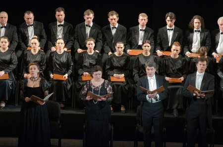 DNIPROPETROVSK, UKRAINE - APRIL 26, 2016: Members of the Choir of the State Opera and Ballet Theatre perform Mozarts REQUIEM. Editorial