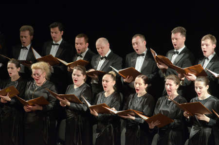 DNIPROPETROVSK, UKRAINE - APRIL 26, 2016: Members of the Choir of the State Opera and Ballet Theatre perform Mozart's REQUIEM. Éditoriale