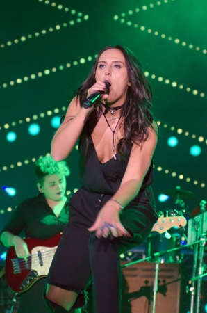 DNIPRO, UKRAINE - SEPTEMBER  10, 2016: Famous Ukrainian singer Jamala performes at the  festival Jazz on the Dnieper. Editorial