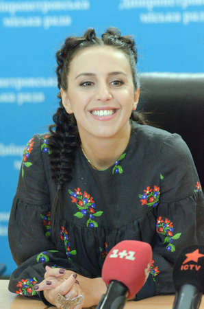 vibrate: DNIPRO, UKRAINE - SEPTEMBER  10, 2016: Famous Ukrainian singer Jamala during a press conference at the  festival Jazz on the Dnieper.