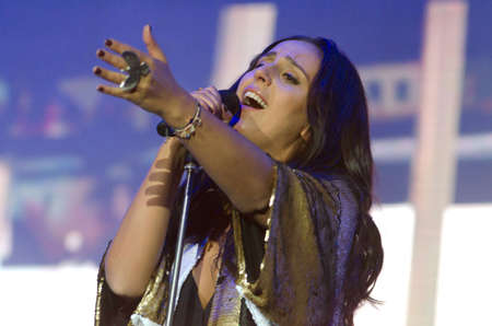 dnipro: DNIPRO, UKRAINE - SEPTEMBER  10, 2016: Famous Ukrainian singer Jamala performes at the  festival Jazz on the Dnieper. Editorial
