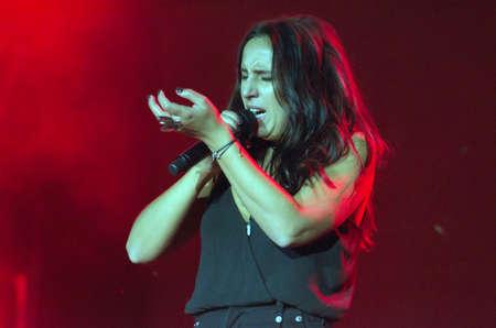 DNIPRO, UKRAINE - SEPTEMBER  10, 2016: Famous Ukrainian singer Jamala performes at the  festival Jazz on the Dnieper. Editorial