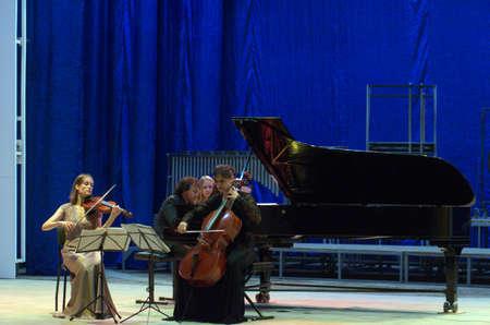 trio: DNIPRO, UKRAINE - SEPTEMBER  26, 2016: Members of the Oberon Trio perform at the Philharmonic.