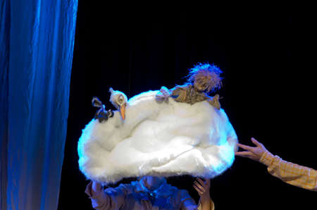 dnipro: DNIPRO, UKRAINE - OCTOBER  1, 2016: Do not fly awayperformed by members of the Dnipro Puppet Theatre.