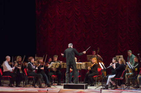 DNIPRO, UKRAINE - OCTOBER 11, 2016: Comic Opera Theatre director perfomed by members of the Dnipropetrovsk Opera and Ballet Theatre. Editoriali