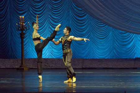 dnipro: DNIPRO, UKRAINE - OCTOBER 15, 2016: Degage ballet performed by members of the Dnipropetrovsk State Opera and Ballet Theatre.