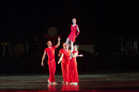 DNIPRO, UKRAINE - OCTOBER 15, 2016: Degage ballet performed by members of the Dnipropetrovsk State Opera and Ballet Theatre.
