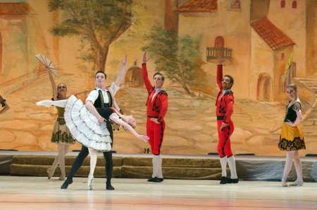 don quijote: DNIPRO, Ucrania - NOVIEMBRE 5, 2016: Don Quijote de ballet realizado por miembros de la Dnipropetrovsk Opera y Ballet.