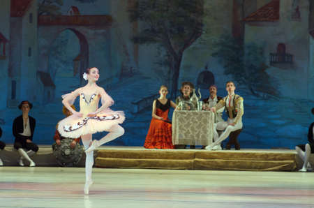 pirouette: DNIPRO, UKRAINE - NOVEMBER  5, 2016: Don Quixote ballet performed by members of the Dnipropetrovsk Opera and Ballet Theatre.
