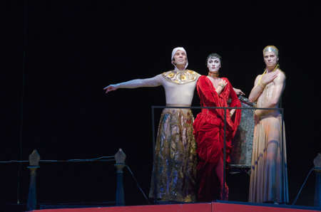 DNIPRO, UKRAINE - JUNE  17, 2016: Members of the Dnipropetrovsk State Opera and Ballet Theatre perform Carmina Burana. Éditoriale