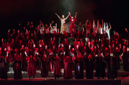 DNIPRO, UKRAINE - JUNE  17, 2016: Members of the Dnipropetrovsk State Opera and Ballet Theatre perform Carmina Burana. Editorial