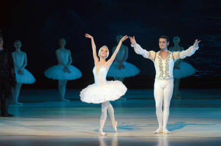balletic: DNIPRO, UKRAINE - JUNE  12, 2016: SWAN LAKE ballet performed by members of the Dnipropetrovsk State Opera and Ballet Theatre.