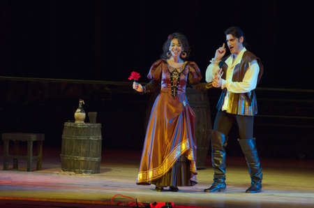 verdi: DNIPRO, UKRAINE - MAY  25, 2016: Rigoletto opera performed by members of the Dnipropetrovsk State Opera and Ballet Theatre.