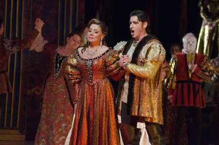 DNIPRO, Oekraïne - 25 mei 2016: Rigoletto opera uitgevoerd door leden van de Dnipropetrovsk State Opera en Ballet Theater. Redactioneel