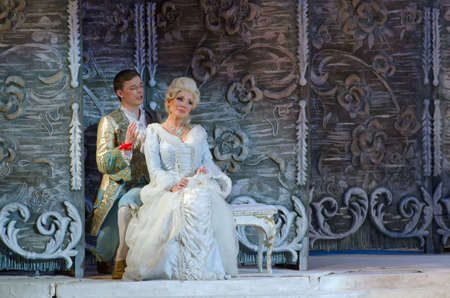 DNIPROPETROVSK, UKRAINE - APRIL 23, 2016: The Marriage of Figaro opera performed by members of the Dnipropetrovsk Opera and Ballet Theatre.