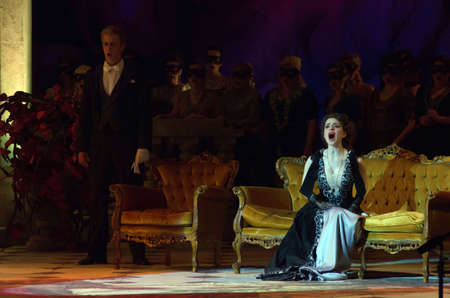 DNIPROPETROVSK, UKRAINE - APRIL 15, 2016: Traviata opera performed by members of the Dnipropetrovsk Opera and Ballet Theatre.