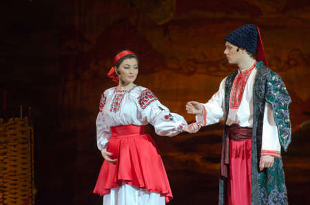 ukranian: DNIPROPETROVSK, UKRAINE - MARCH  4, 2016: Ukranian musical Sorochintsy Fair performed by members of the Dnipropetrovsk State Opera and Ballet Theatre.