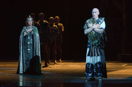 verdi: DNIPRO, UKRAINE - NOVEMBER 26, 2016: Aida opera performed by members of the Dnipro Opera and Ballet Theatre. Editorial