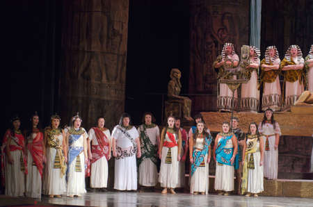 thebes: DNIPRO, UKRAINE - NOVEMBER 26, 2016: Aida opera performed by members of the Dnipro Opera and Ballet Theatre. Editorial