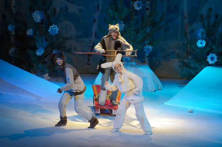 DNIPRO, UKRAINE - DECEMBER 28, 2016: New Years masquerade performed by members of the Dnipro Municipal Youth Theatre VERIM!.