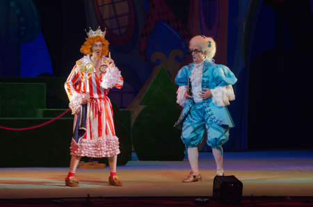DNIPRO, UKRAINE - JANUARY 3, 2017: Musical play Tale of the Prince and Princess performed by members of the Dnipro Opera and Ballet Theatre. Editorial