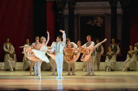 slight: DNIPROPETROVSK, UKRAINE - JUNE 27, 2015: Members of the Dnipropetrovsk State Opera and Ballet Theatre perform RAYMOND.