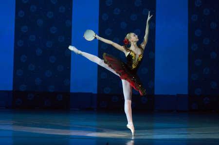 DNIPROPETROVSK, UKRAINE - MAY 30: Dancer Julia Zakharenko performs ESMERALDA at State Opera and Ballet Theatre on May 30, 2015 in Dnipropetrovsk, Ukraine