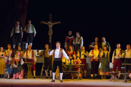 historica: DNIPROPETROVSK, UKRAINE - MARCH 26: Members of the Dnipropetrovsk State Opera and Ballet Theatre perform CAVALLERIA RUSTICANA on March 26, 2015 in Dnipropetrovsk, Ukraine