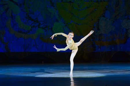 DNIPROPETROVSK, UKRAINE - JANUARY 11: Sofia Gatylo, age 14 years old, performs Ballet pearls at State Opera and Ballet Theatre on January 11, 2015 in Dnipropetrovsk, Ukraine
