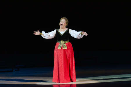 DNIPROPETROVSK, UKRAINE - DECEMBER 26: Famous singer Zoya Kaipova performs at the State Opera and Ballet Theatre on December 26, 2014 in Dnipropetrovsk, Ukraine