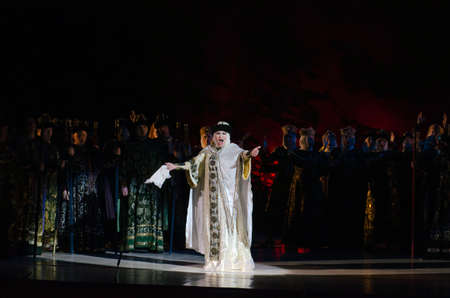 igor: DNIPROPETROVSK, UKRAINE - DECEMBER 26: Members of the Dnipropetrovsk State Opera and Ballet Theatre perform PRINCE IGOR on December 26, 2014 in Dnipropetrovsk, Ukraine Editorial